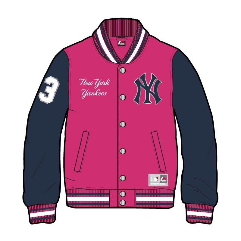 Felpa Majestic Fleece New York Yankees Girl Rosa Bambino
