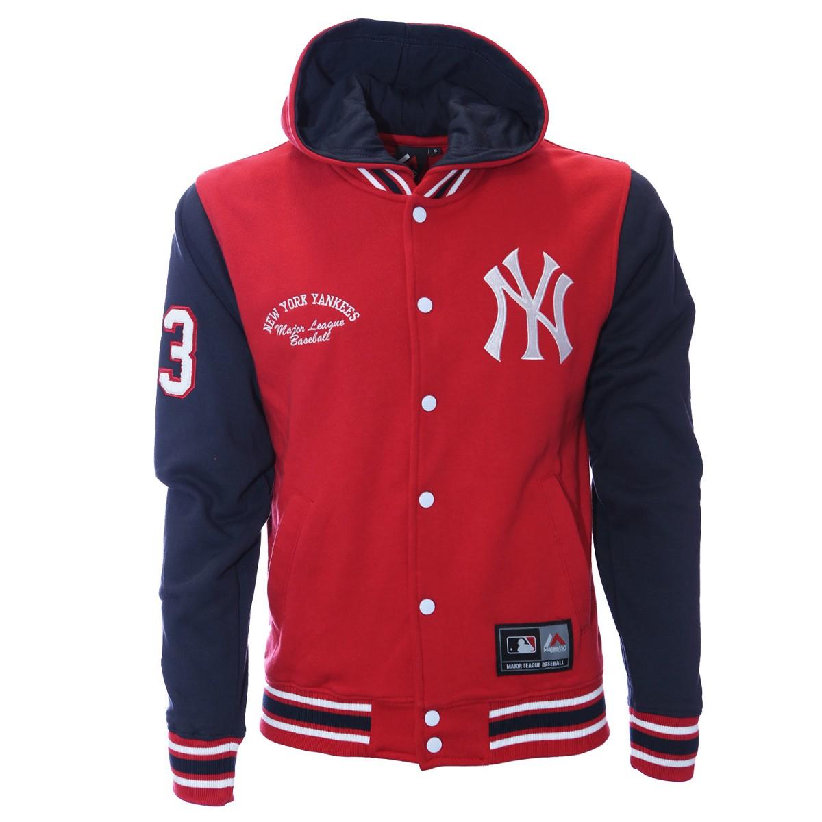 Felpa Majestic Rena Fleece Letterman Rosso Felpe Baseball