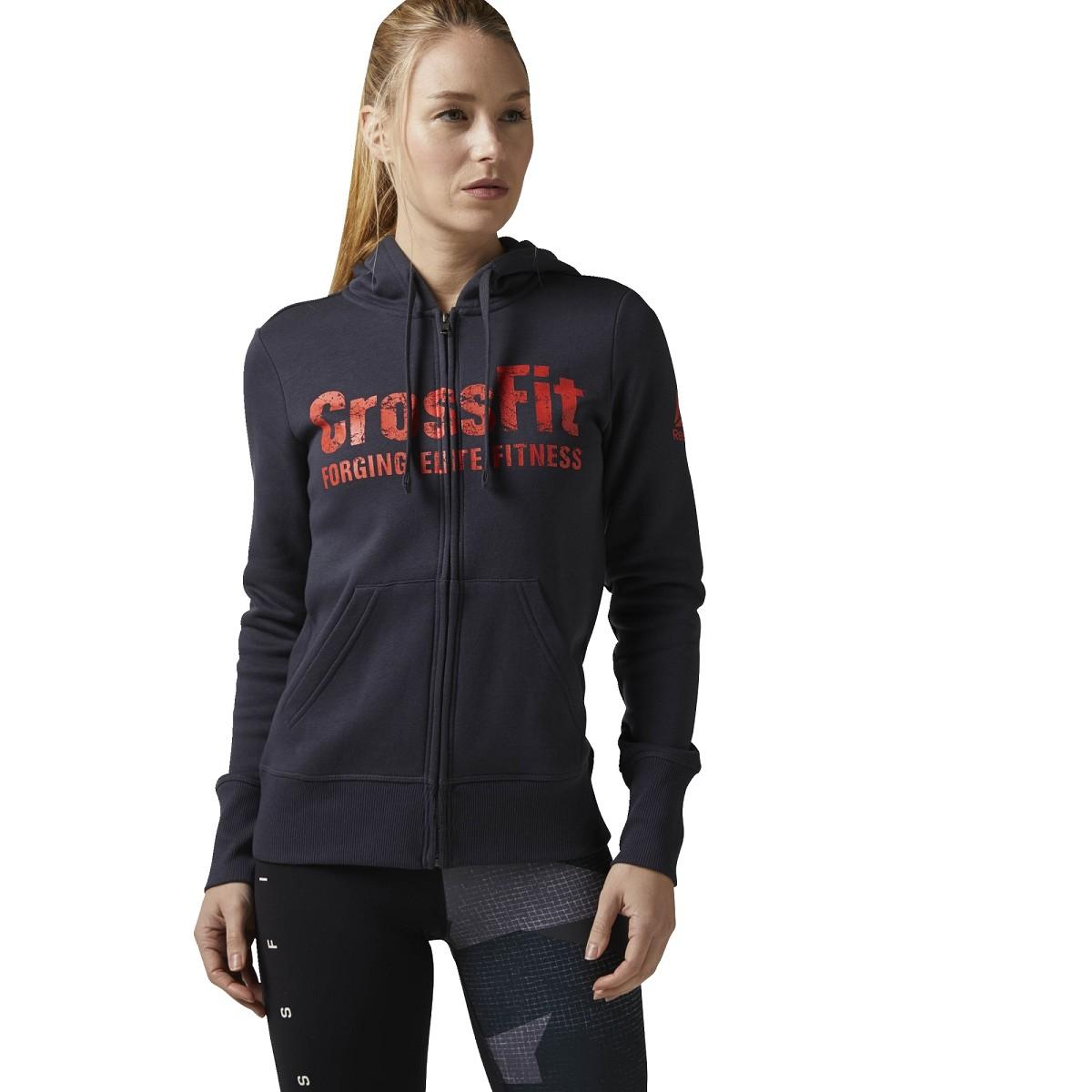 Felpa Reebok Crossfit Bj9235 Rcf Full Zip Grigio Felpe